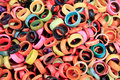 Pile of colorful  tagua rings at otavalo market Royalty Free Stock Photo