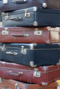 Pile of colorful vintage suitcases stack old moscow russia Stock Photography