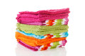 Pile of colorful washclothes Stock Photo
