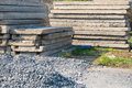 Pile of construction material close up and concrete panels Stock Photo