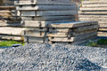 Pile of construction material close up and concrete panels Royalty Free Stock Photography