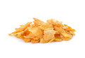 Pile of corn flakes isolated on white Royalty Free Stock Photo