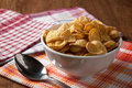 Pile of cornflakes and a spoon Royalty Free Stock Photo