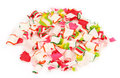 Pile crushed ribbon candy white background Royalty Free Stock Images