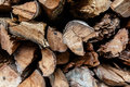 A pile of cut wood in detail closeup photo Stock Images