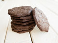 Pile of dark chocolate cookies Stock Photo