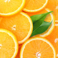 Pile de tranches oranges de fruit Image stock