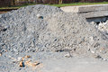 Pile of debris close up construction near railway Royalty Free Stock Photos
