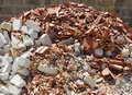 A pile of dirt and busted-up rubble Royalty Free Stock Photo
