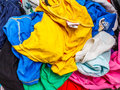 Pile of dirty cloth. Preparing for wash. Royalty Free Stock Photo