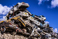 Pile of discarded old cars