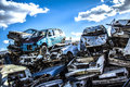 Pile of discarded old cars Royalty Free Stock Photo