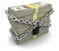 Pile of dollars and lock clipping path included image with Stock Photo