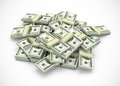 Pile of dollars on white background Royalty Free Stock Image