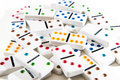 Pile of dominoes bright high key photo on white game on white background Stock Images