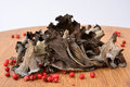 Pile of dried Horn of plenty mushrooms Royalty Free Stock Photo