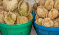 Pile of durian in the basket for sale in local market in thailand Royalty Free Stock Images