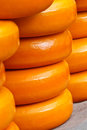Pile of Dutch cheese on a market Stock Photo