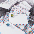 Pile of envelopes letters image with selective focus Royalty Free Stock Image