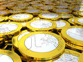 Pile of euro coins detail concept wealth rich and treasure Royalty Free Stock Photo