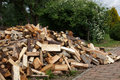 Pile of firewood drying splitted Royalty Free Stock Image