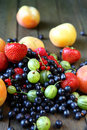 Pile of fresh berries on the table food closeup Stock Photo