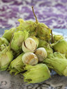 Pile of fresh hazelnuts Stock Photo