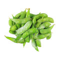 pile of frozen green peas isolated on white