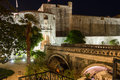 Pile gate and city walls dubrovnik croatia gradska vrata bridge leading to the old town at night Royalty Free Stock Photography