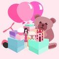 Pile of girls gifts vector cartoon