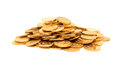 A pile of gold coins isolated Royalty Free Stock Photo