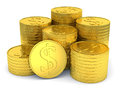 Pile of golden coins with dollar symbol isolated on white background Royalty Free Stock Photo