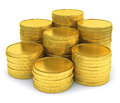 Pile of golden coins isolated on white background group stacks Stock Images