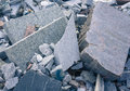 Pile of granite used to stabilize river s edge to prevent damage from flooding Royalty Free Stock Photography