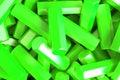 A pile of green hexagon details