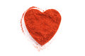 Pile of ground Paprika isolated in heart shape Royalty Free Stock Photo