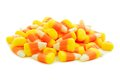 Pile of halloween candy corn over white a background Royalty Free Stock Image