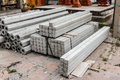 Pile of hexagon and square concrete foundation piles in thailand Stock Photos