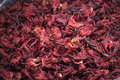 Pile of hibiscus flower a dry from a market usually used to prepare tea Royalty Free Stock Image