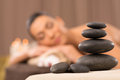 Pile of hot stones stone massage set black Royalty Free Stock Photography