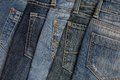 It is a pile of jeans blue Royalty Free Stock Image