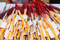 Pile of joss stick and candle in thai temple Stock Image