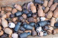 Pile of jugs a lot little different clay Stock Images