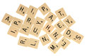 Pile of jumbled scrabble letters Royalty Free Stock Photo
