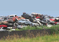 Pile of junked and wrecked cars. Stock Photo