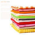Pile of linen kitchen towels on a white background Stock Photography