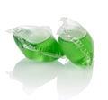Pile of liquid laundry detergent sachets Royalty Free Stock Photo