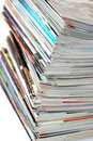Pile of magazines on white Royalty Free Stock Photo