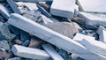 Pile of marble and granite pieces used to stabilize river banks to prevent flooding Royalty Free Stock Images