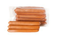 Pile meat flavour sausages in packing Stock Photography